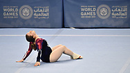 Abu Dhabi, United Arab Emirates - 2019 March 15: Cailiegh Quail from SO Great Britain competes in gymnastics while Special Olympics World Games Abu Dhabi 2019 on March 15, 2019 in Abu Dhabi, United Arab Emirates. (Mandatory Credit: Photo by (c) Adam Nurkiewicz)