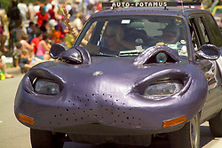 Stock photo of an auto-Potamus, a hippo themed car