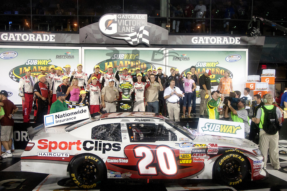 Daytona Beach, FL - July 01, 2011:  Joey Logano (20) wins the Subway Jalapeno 250 at Daytona International Speedway in Daytona Beach, FL.