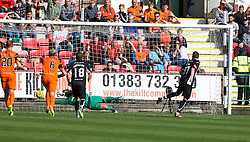 Dundee United's keeper Cammy Bell saves Dunfermline's Nicky Clarks second Dunfermline's  penalty. half time : Dunfermline 0 v 1  United, Scottish Championship game played 10/9/2016 at East End Park.