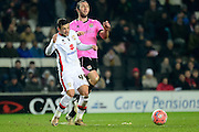 MK Dons forward Jake Forster-Caskey battles for the ball with Northampton Town Midfielder John-Joe O'Toole  during the The FA Cup Third Round Replay match between Milton Keynes Dons and Northampton Town at stadium:mk, Milton Keynes, England on 19 January 2016. Photo by Dennis Goodwin.