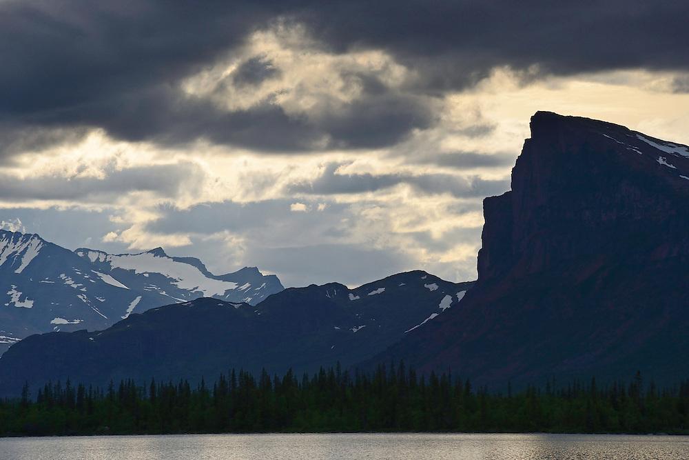 Skierfe mountain in the famous Rapa river delta, Sarek National Park, Laponia UNESCO World Heritage Site, Greater Laponia rewilding area, Lapland, Norrbotten, Sweden