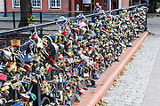 Love locks on a bridge in Gdansk