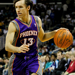 February 2, 2012; New Orleans, LA, USA; Phoenix Suns point guard Steve Nash (13) against the New Orleans Hornets during a game at the New Orleans Arena. The Suns defeated the Hornets 120-103.  Mandatory Credit: Derick E. Hingle-US PRESSWIRE