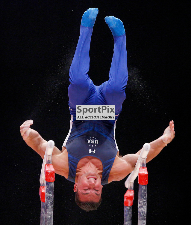 2015 Artistic Gymnastics World Championships being held in Glasgow from 23rd October to 1st November 2015....Brandon Wynn (USA) competing in the Parallel Bars competition..(c) STEPHEN LAWSON | SportPix.org.uk