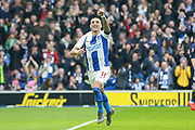 GOAL - Brighton and Hove Albion midfielder Anthony Knockaert (11) celebrates points to the crowd 1-0 during the The FA Cup 5th round match between Brighton and Hove Albion and Derby County at the American Express Community Stadium, Brighton and Hove, England on 16 February 2019.