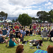 Wine lovers at the Marlborough Wine Festival, Brancott Estate Winery, Marlborough, South Island, New Zealand..Over 8000 wine and food lovers attend New Zealand's most popular and successful wine festival showcasing the regions best wines produced by around 110 wineries. Festival goers get the opportunity to sample a unique selection of wines and local foods at Marlborough's Brancott Estate winery. For the wine aficionados there are two wine tutorials from the region's leading winemakers and viticulturist. The festival includes a fashion in the vines competition  and live music throughout the day.<br /> <br /> The Marlborough wine region is New Zealand's largest wine producer and has earned a global reputation for viticultural excellence since the 1970s. It has an enviable international reputation for producing the best Sauvignon Blanc in the world. It also makes very good Chardonnay and Riesling and is fast developing a reputation for high quality Pinot Noir. Of the region's ten thousand hectares of grapes (almost half the national crop) one third are planted in Sauvignon Blanc. . Marlborough, New Zealand, 12th February 2011. Photo Tim Clayton.