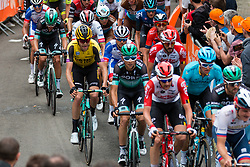 Peloton during the 2nd lap on Mur de Huy at 2019 La Flèche Wallonne (1.UWT) with 195 km racing from Ans to Mur de Huy, Belgium. 24th April 2019. Picture: Pim Nijland | Peloton Photos<br /> <br /> All photos usage must carry mandatory copyright credit (Peloton Photos | Pim Nijland)