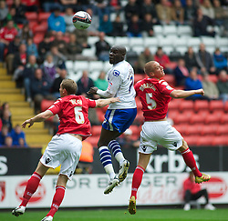 LONDON, ENGLAND - Saturday, October 8, 2011: Tranmere Rovers' Enoch Showunmi goes close with a header against Charlton Athletic during the Football League One match at The Valley. (Pic by Gareth Davies/Propaganda)
