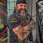 Triptych of Edgar Munoz at the New York City Vietnam Veterans Memorial Plaza. <br /> <br /> Edgar is a member of Biker of the Dark Alchemy Motorcycle Club Assoc., Perth Amboy, NJ. Sgt at Arms, aka &quot;Tazz&quot; original III<br /> <br /> Mix Martial Arts Instructor @ the John H Stamler Police Academy,  Scotch plains, NJ. He is also a professional  boxing coach, World light heavyweight and middleweight kickboxing champion.