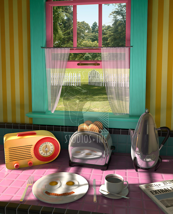 Retro kitchen from the 50s showing a retro radio, toaster, percolator, plate of fried eggs and bacon, coffee and the morning news showing an outdoor lawn with a picket fence through an open window