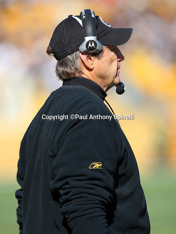 Pittsburgh Steelers Defensive Coordinator Dick LeBeau looks on during the NFL football game against the Minnesota Vikings, October 25, 2009 in Pittsburgh, Pennsylvania. The Steelers won the game 27-17. (©Paul Anthony Spinelli)