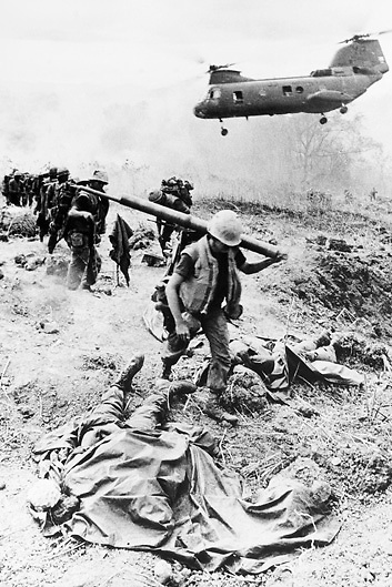 US Marines on military operation against Viet Cong forces in Vietnam during the Vietnam War