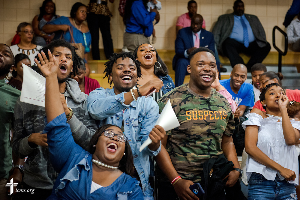 Family and friends cheer during the 92nd and final Commencement Exercises on Saturday, April 28, 2018, in the Julius and Mary Jenkins Center at Concordia College Alabama in Selma, Ala. LCMS Communications/Erik M. Lunsford