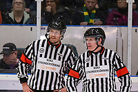 2020-01-17 | Umeå, Sweden: Referees in a smallchat at thhe powerbreak in HockeyAllsvenskan during the game  between Björklöven and Timrå at A3 Arena ( Photo by: Michael Lundström | Swe Press Photo )<br /> <br /> Keywords: Umeå, Hockey, HockeyAllsvenskan, A3 Arena, Björklöven, Timrå, mlbt200117
