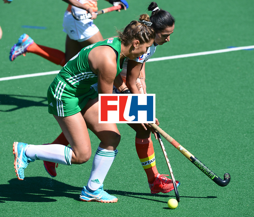 JOHANNESBURG, SOUTH AFRICA - JULY 22: Elena Tice of Ireland tackles Deidre Duke of Ireland during day 8 of the FIH Hockey World League Women's Semi Finals 7th-8th place match between India and Ireland at Wits University on July 22, 2017 in Johannesburg, South Africa. (Photo by Getty Images/Getty Images)