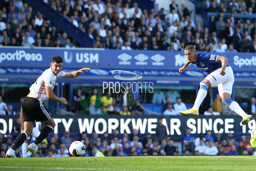 Everton forward Richarlison (7) heads on goal  during the Premier League match between Everton and Sheffield United at Goodison Park, Liverpool, England on 21 September 2019.