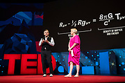 Hosts Chris Anderson and Helen Walters speak at TED2019: Bigger Than Us. April 15 - 19, 2019, Vancouver, BC, Canada. Photo: Bret Hartman / TED