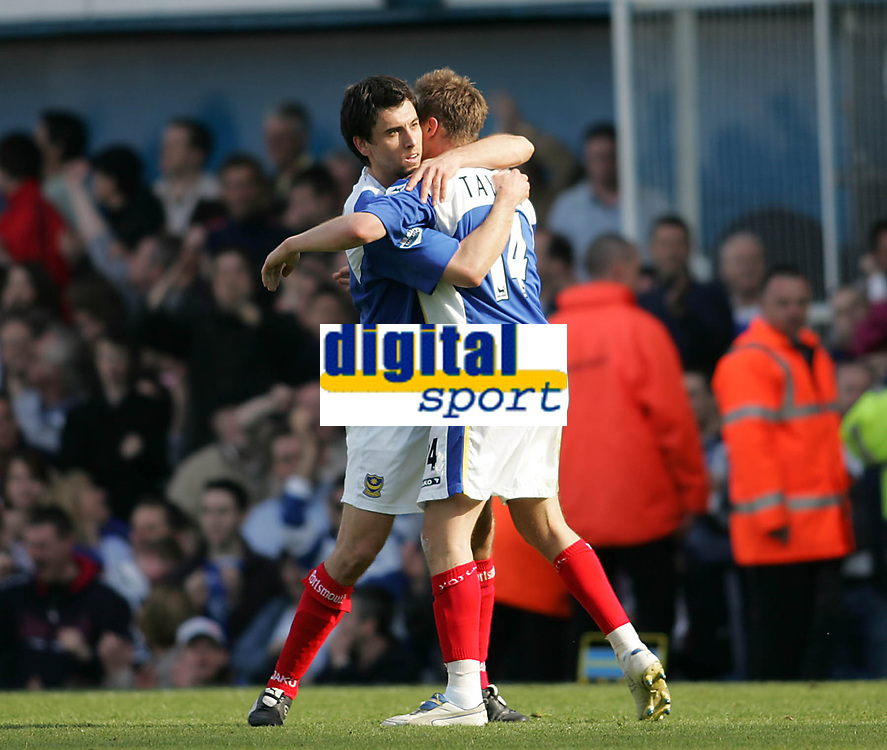 Photo: Lee Earle.<br /> Portsmouth v Sunderland. The Barclays Premiership. 22/04/2006. Pompey's Svetoslav Todorov (L) congratulates Matthew Taylor after his penalty kick goal.