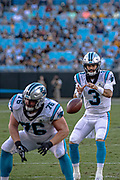 Carolina Panthers quarterback Will Grier (3) receives the snap from Carolina Panthers center Parker Collins (76) against Pittsburgh Steelers during a NFL football game, Thursday, Aug. 29, 2019, in Charlotte, N.C. The Panthers defeated the Steelers 25-19.  (Brian Villanueva/Image of Sport)