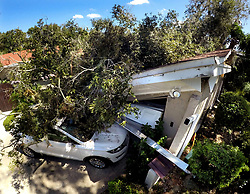 September 13, 2017 - Maitand, Florida, U.S. - A tree remains on a home and car in the Maitland Isle neighborhood Wednesday, after high winds from Hurricane Irma has left millions without power across Florida. (Credit Image: © Joe Burbank/TNS via ZUMA Wire)