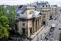 Paris, France. View from Rue du Faubourg Saint-Honore with the church of Saint-Philippe-du-Roule, a historical monument.