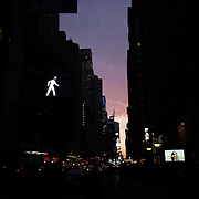 A street scene at dusk showing the high rise buildings of  Manhattan, New York, USA.  Photo Tim Clayton