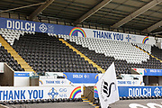 View of the stand at Liberty Stadium dedicated to the work of NHS key workers during the Covid-19 pandemic ahead the EFL Sky Bet Championship match between Swansea City and Birmingham City at the Liberty Stadium, Swansea, Wales on 19 September 2020.