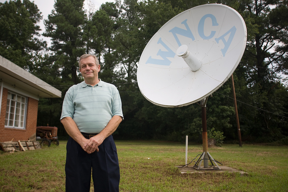 """Barry Hayes, the """"bear"""" of air, outside WNCA studios in Siler City, July 30, 2008."""