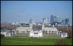 Skyscrapers of the City district of London can be seen from the Royal Observatory in Greenwich, UK. on April 23, 2013. The Office for National Statistics said its preliminary estimates for gross domestic product (GDP), showed the economy grew by 0.3% in the first three months of the year. The figure means the economy avoided two consecutive quarters of contraction - the definition of a recession, April 25, 2013. Photo by: Andrew Parsons / i-Images