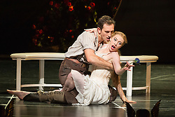 """© Licensed to London News Pictures. 04/12/2015. London, UK. Chris Trenfield as Leo and Cordelia Braithwaite as Aurora. Matthew Bourne's """"Sleeping Beauty"""", a Gothic Romance, is performed at Sadler's Wells from 1 Dec 2015 - 24 Jan 2016. Photo credit: Bettina Strenske/LNP"""