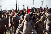 Thousands of Naga Sadhu make their way through the crowds of the Kumbh Mela.