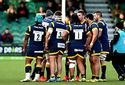 Worcester Warriors forwards huddle - Mandatory by-line: Robbie Stephenson/JMP - 28/01/2017 - RUGBY - Sixways Stadium - Worcester, England - Worcester Warriors v Harlequins - Anglo Welsh Cup