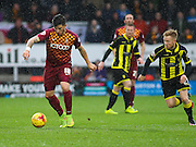 Bradford City defender Christopher Routis on the attack during the Sky Bet League 1 match between Burton Albion and Bradford City at the Pirelli Stadium, Burton upon Trent, England on 6 February 2016. Photo by Aaron Lupton.
