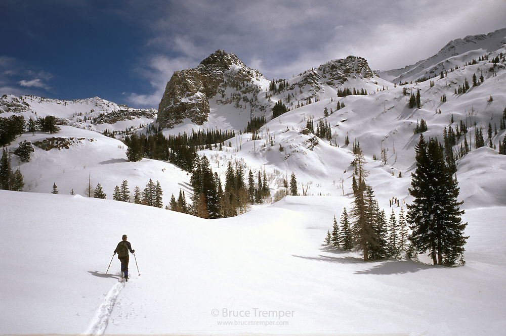 Bill Lockhart skis up Mill B South in the Wasatch Range, Utah