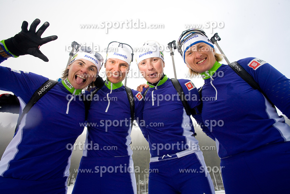 Andreja Mali, Teja Gregorin, Dijana Grudicek Ravnikar and Tadeja Brankovic Likozar of Slovenian women biathlon team before new season 2009/2010,  on November 16, 2009, in Pokljuka, Slovenia.   (Photo by Vid Ponikvar / Sportida)