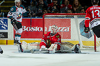 KELOWNA, CANADA - APRIL 7: Cole Kehler #31 of the Portland Winterhawks misses a save against the Kelowna Rockets on April 7, 2017 at Prospera Place in Kelowna, British Columbia, Canada.  (Photo by Marissa Baecker/Shoot the Breeze)  *** Local Caption ***