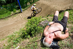 Man sleeping at 5th European Championship in the 4-cross, on June 27, 2009, in Sport centre Pale, Ajdovscina, Slovenia. Due to bad weather conditions, the final part of the competition was cancelled. The results from the qualification part were called official. (Photo by Vid Ponikvar / Sportida)