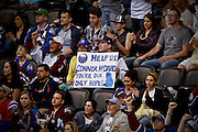 SHOT 3/28/15 8:14:03 PM - Buffalo Sabres fans hold up a sign begging for the help of Connor McDavid, the presumed first pick of the upcoming NHL Draft, during the Sabres regular season NHL game against the Colorado Avalanche at the Pepsi Center in Denver, Co. The Avalanche won the game 5-3. (Photo by Marc Piscotty / © 2015)