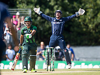 EDINBURGH, SCOTLAND - JUNE 12: Matthew Cross of Scotland appeals during the International T20 Friendly match between Scotland and Pakistan at the Grange Cricket Club on June 12, 2018 in Edinburgh, Scotland. (Photo by MB Media/Getty Images)
