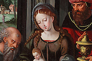 Detail of the Virgin, from a triptych of Adoration of the Magi, attributed to Pieter I Cock díAlost, 1502-50, oil painting on panel, from the Church of Saint-Loup, Chalons-en-Champagne, Champagne-Ardenne, France. The church is listed as a UNESCO World Heritage Site as part of the Santiago de Compostela pilgrimage site. Picture by Manuel Cohen