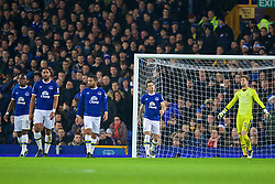LIVERPOOL, ENGLAND - Tuesday, December 13, 2016: Everton's Ashley Williams looks dejected after deflecting past goalkeeper Maarten Stekelenburg from a free-kick from Arsenal's Alexis Sanchez for the opening goal during the FA Premier League match at Goodison Park. (Pic by David Rawcliffe/Propaganda)