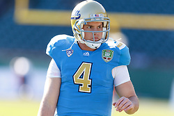 Dec 31, 2011; San Francisco CA, USA; UCLA Bruins quarterback Kevin Prince (4) warms up before the game against the Illinois Fighting Illini at AT&T Park. Illinois defeated UCLA 20-14. Mandatory Credit: Jason O. Watson-US PRESSWIRE