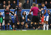 Football - 2017 / 2018 Premier League - Everton vs. Arsenal<br /> <br /> Nacho Montreal of Arsenal complains after Dominic Calvert-Lewin of Everton pushes him into the crowd at Goodison Park.<br /> <br /> COLORSPORT/LYNNE CAMERON
