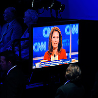 TAMPA, FL -- September 12, 2011 -- Republican Presidential candidate Rep Michele Bachmann speaks during the CNN/Tea Party Republican Debate at the Florida State Fairgrounds on Monday, September 12, 2011.  Eight Republican Presidential candidates squared off with host Wolf Blitzer in the battleground state of Florida for the 2012 Election.    (Chip Litherland for The New York Times)