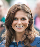 Princess Madeleine of Sweden at a concert celebrating Victorias 35th birthday at Borgholm's Idrottsplats in Borgholm, Sweden.