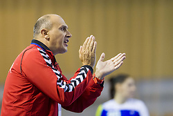 Sasa Boskovic, head coach of Serbia during handball match between Women National teams of Slovenia and Serbia in 2nd Round of Qualifications for 2014 EHF European Championship on October 27, 2013 in Hala Tivoli, Ljubljana, Slovenia. Slovenia defeated Serbia 31-26. (Photo by Vid Ponikvar / Sportida)