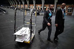 © Licensed to London News Pictures . 26/05/2019. Manchester, UK. Brexit Party supporters at the count for seats in the constituency of North West England in the European Parliamentary election , at Manchester Central convention centre . Photo credit: Joel Goodman/LNP