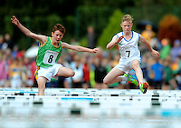 20 Aug 2016:  John Finnerty, left, Meath, and John Hughes, from Laois, during Boys U14 Hurdles heat.  2016 Community Games National Festival 2016.  Athlone Institute of Technology, Athlone, Co. Westmeath. Picture: Caroline Quinn