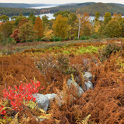 View of the Quabbin Reservoir from the Enfield overlook in Ware, Massachusetts.  Fall.